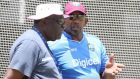 West Indies coach Phil Simmons talks to former Windies captain Clive Lloyd during nets ahead of the third Test  against England at    Kensington Oval in  Barbados. Photo: Jason O'Brien/Action Images/Livepic