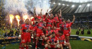 Toulon celebrate winning the European Champions Cup after beating Clermont Auvergne at Twickenham on Saturday. Photograph: Billy Stickland/Inpho.
