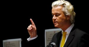 Dutch politician Geert Wilders speaks at the Muhammad art contest in Garland, Texas, on Sunday. Two gunmen were killed in an attack on the event. Photograph: Mike Stone/Reuters