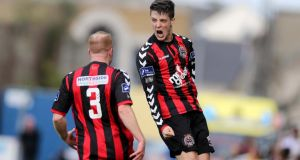 Adam Evans celebrates scoring the equalising goal for Bohemians  with team-mate Lorcan Fitzgerald during the  SSE Airtricity League Premier Division game at Dalymount Park. Photo: Donall Farmer/Inpho