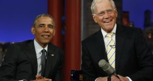 "US president Barack Obama (left) is interviewed during a taping of the ""Late Show with David Letterman"" in New York. Photograph: Jonathan Ernst/Reuters"