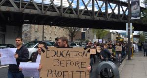 """Education before profit"" - protesters marched through Dublin on Tuesday. Photograph: Sorcha Pollak"