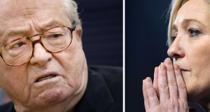 File photographs of Jean-Marie Le Pen and Front National's president Marine Le Pen.  Photograph: AFP/Jean-sebastien Evrard/Getty Images