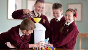 (From left) Ryan Lawlor, Caoimhe Kelly, Aaron Scully and Elisha McAuley, 5th class pupils from Scoil an Chroi Ró Naofa Íosa, Dublin, tackle a science project at the launch of  the RDS Stem Learning project. Photograph: Eric Luke/The Irish Times