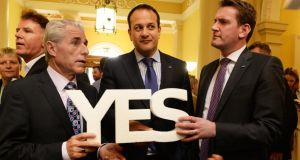INMO general secretary Liam Doran (left) with Minister for Health Leo Varadkar and Minister of State Aodhán Ó Ríordáin at an event to call for a Yes vote in the same-sex marriage referendum. Photograph: Cyril Byrne