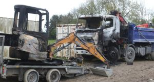 Irish Water vehicles which were burnt out at Lacken Road in Waterford city on Tuesday night. Photograph: Patrick Browne