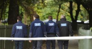 Members of the Gardai Technical Bureau  at the scene in the Phoenix Park where Gerard Donnelly was found dead on November 29th, 2013. Photograph: Alan Betson/The Irish Times.