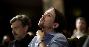 "Podemos leader Pablo Iglesias: ""In these elections there aren't many options, there are basically two: to leave things as they are or to change. We believe things can change."" Photograph: Dani Pozo/AFP/Getty Images"