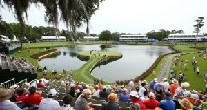 A general view of the famous 17th green at the TPC Sawgrass Stium in Ponte Vedre Beach, Floriday. Photo:  Richard Heathcote/Getty Images