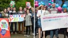 Activists on both sides of the same-sex marriage referendum campaign. Oireachtas members, staff and visitors are being asked to remove symbols from either side of the campaign ahead of the  referendum.