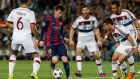 Barcelona's Lionel Messi in action with Bayern Munich's Thiago, Xabi Alonso, Juan Bernat and Mehdi Benatia all in pursuit. Photo: Gustau Nacarino/Reuters
