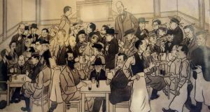 Alan Reeves' cartoon of Dublin Culture depicted the all-male, drinking culture for which mid-twentieth-century Irish writing is renonwned