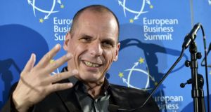 Greece Minister of Finance Yanis Varoufakis attends a debate at the European Business Summit in Brussels today. Photograph: Reuters