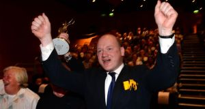 'David Fitzgerald (above) is  proving to be a strong candidate. Many objective observers who have visited Carlow-Kilkenny in recent weeks speak of his positive disposition which is connecting with voters.' Above,  Fitzgerald,   celebrates as it's announced in Dublin  that Kilkenny City is winner of the SuperValu TidyTowns competition,  last year. He was there in his capacity as Chairman of the Kilkenny Town Tidy Towns Committee. Photograph: Dara Mac Dónaill / The Irish Times
