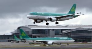 Aer Lingus: the airline  cut the number of seats available on all its services by 6.6 per cent in April, which a spokesman said was one of the traditionally slower months for travel and was designed to preserve profitability. Photograph: Paul Faith/AFP/Getty Images