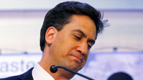Britain's opposition Labour Party leader Ed Miliband reacts to the results of the count of his seat in Doncaster, northern England, Britain, May 8th, 2015. Photograph: REUTERS/Darren Staples