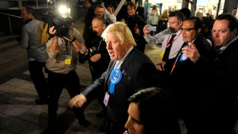 Mayor of London and prospective Conservative candidate for Uxbridge and South Ruislip Boris Johnson is mobbed by members of the press and students as he arrives for the General Election count at Brunel University, London. Photograph: Andrew Matthews/PA Wire