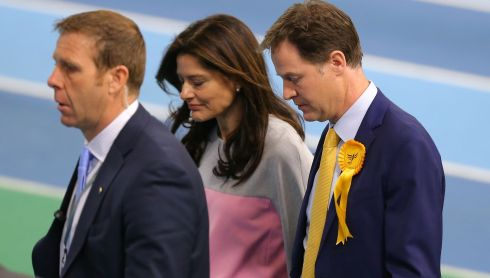 Defeat: Liberal Democrat leader and deputy prime minister Nick Clegg and his wife Miriam Gonzalez Durantez look dejected as they leave his constituency declaration at the English Institute of Sport on May 8th. Photograph: Dave Thompson/Getty Images