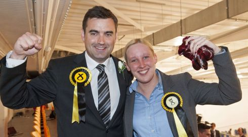 Mhairi Black (R), Britain's youngest member of parliament since 1667, poses for a photograph with newly-elected SNP member of parliament  Photograph: LESLEY MARTIN/AFP/Getty Images