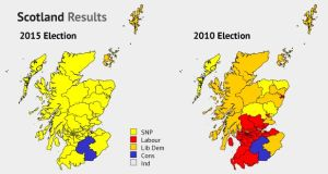 A graphic showing the change in seats won in the 2010 and the 2015 UK elections.  Graphic: Irish Times Studio