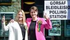Plaid Cymru leader Leanne Wood, (right), and the party's candidate for Rhondda, Shelley Rees-Owen,  after casting their votes on Thursday. The party failed to make a breakthrough, staying on three seats. Photograph: Ben Birchall/PA Wire