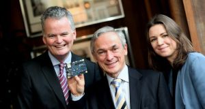 Minister for Enterprise Richard Bruton with American Chamber chief executive Mark Redmond and RIA executive director Laura Mahoney at the launch of the inaugural US-Ireland Research Innovation Awards