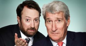 "David Mitchell and a ""woefully miscast"" Jeremy Paxman, presenters of Channel 4's ""Alternative Election Night"". Photograph: Channel 4/PA Wire"