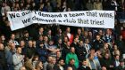 Newcastle fans vent their frustration as the club battles relegation having lost eight league games in a row under caretaker manager John Carver. Photograph: Nigel French/PA Wire.