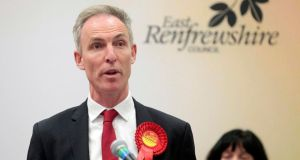 Scottish Labour Party leader Jim Murphy gives a gracious speech after failing to be re-elected as a member of parliament for East Renfrewshire.  Photograph: Graham Stuart/Reuters