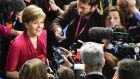 SNP leader Nicola Sturgeon at the Glasgow count declarations. Photograph: Jeff J Mitchell/Getty Images