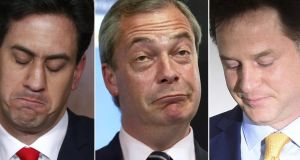 Not happy campers:  combination shots from May 8th, 2015, of  outgoing British  Labour Party leader Ed Miliband, outgoing leader of the UK Independence Party Nigel Farage and outgoing leader of the Liberal Democrats Nick Clegg, separately announcing their resignations a day after the British general election. Photograph: Justin Tallis/AFP/Getty Images