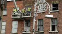 Council workers attempt to stabilise number 30 North Frederick Street which is part of Dublin's Georgian fabric in need of refurbishment. Photograph: The Irish Times