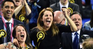 SNP supporters celebrate during the Glasgow result declarations on May 8th, 2015 in Glasgow, Scotland. Photograph: Jeff J Mitchell/Getty Images