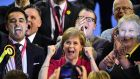 Leader of the SNP Nicola Sturgeon celebrates during the Glasgow electon declarations.  Photograph: Jeff J Mitchell/Getty Images