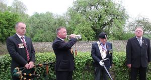 Members of the Royal Munster Fusiliers Association at the event at Rue du Bois. Photograph: Ronan McGreevy