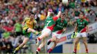 Donegal's Mark McHugh in action against Mayo in the 2013 All-Ireland final. He is the only one in the squad with a winner's medal who did not experience last year's final defeat. Photograph: James Crombie/Inpho