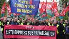 Dublin Bus drivers pictured marching in The annual May Day Demonstration organised by the Dublin Council of Trade Unions. Photograph: Aidan Crawley/The Irish Times