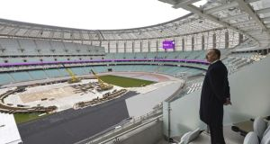 Azerbaijan's President Ilham Aliyev inspects the stadium during the opening of the Baku Olympic Stadium in Baku. The first European Games will be held in Baku Olympic Stadium. Photograph: Getty Images