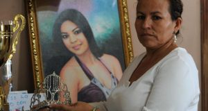 Teresa Munoz, mother of murdered Miss Honduras World, Maria José Alvarado, who was shot dead along with her sister. Photograph:  Orlando Sierra/AFP/Getty Images