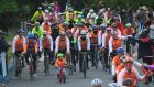 Ryan Cannon from Killiney leading cyclists who on Sunday completed a 1,400km journey around Ireland for Cycle Against Suicide. Photograph: Gareth Chaney/Collins