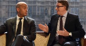 "Shadow business secretary Chuka Umunna and Peter Mandelson on The Andrew Marr Show. ""The awful, shocking thing about this election is Labour could have won it,"" Mandelson said. Photograph: Jeff Overs/BBC via Getty Images"