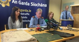 (From left) Sgt Maeve O'Sullivan, Supt Brendan Connolly and Rita Byrne from Tulsa at a Garda press conference held on Monday  in a bid to identify an infant found at around 3.30pm on Friday on Steelstown road near the Kildare-Dublin border, close to Rathcoole and the N7.