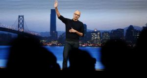 Microsoft chief executive Satya Nadella at the Build conference in San Francisco: 'Microsoft has bold ambitions for platforms that empower developers across Windows, Azure and Office.' Photograph: Robert Galbraith/Reuters