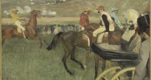 Detail from 'The Race Track; Amateur Jockeys Near a Carriage'.Musée d'Orsay