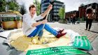 Chef Adrian Martin pictured with a record-breaking gluten-free potato pancake at the launch if the Coeliac Society of Ireland's awareness week in Smithfield. Photograph: Marc O'Sullivan