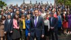 Prime minister David Cameron poses for a photograph with newly-elected Conservative MPs in London.  Photograph: Stefan Rousseau - WPA Pool/Getty Images
