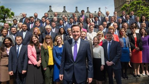British Prime Minister David Cameron poses for a group photo with newly-elected Conservative MPs at the Houses of Parliament in central London on May 11th, 2015. Photograph: AFP/Getty Images.