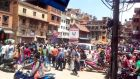Nepalese people crowd outside on May 12th, 2015 during a fatal earthquake which followed a devastating quake late the previous month. Photograph: Goal