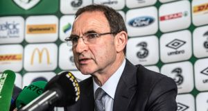 Republic of Ireland manager Martin O'Neill speaking at the squad announcement yesterday for the games against England and Scotland. Photograph: INPHO/Dan Sheridan