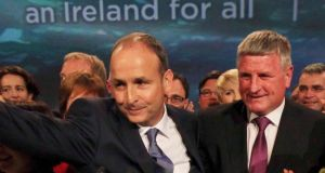 Fianna Fáil leader Michael Martin with Carlow-Kilkenny byelection candidate Bobby Aylward at the Fianna Fáil Ardfheis in  Dublin last month. Photograph:  Stephen Collins/Collins